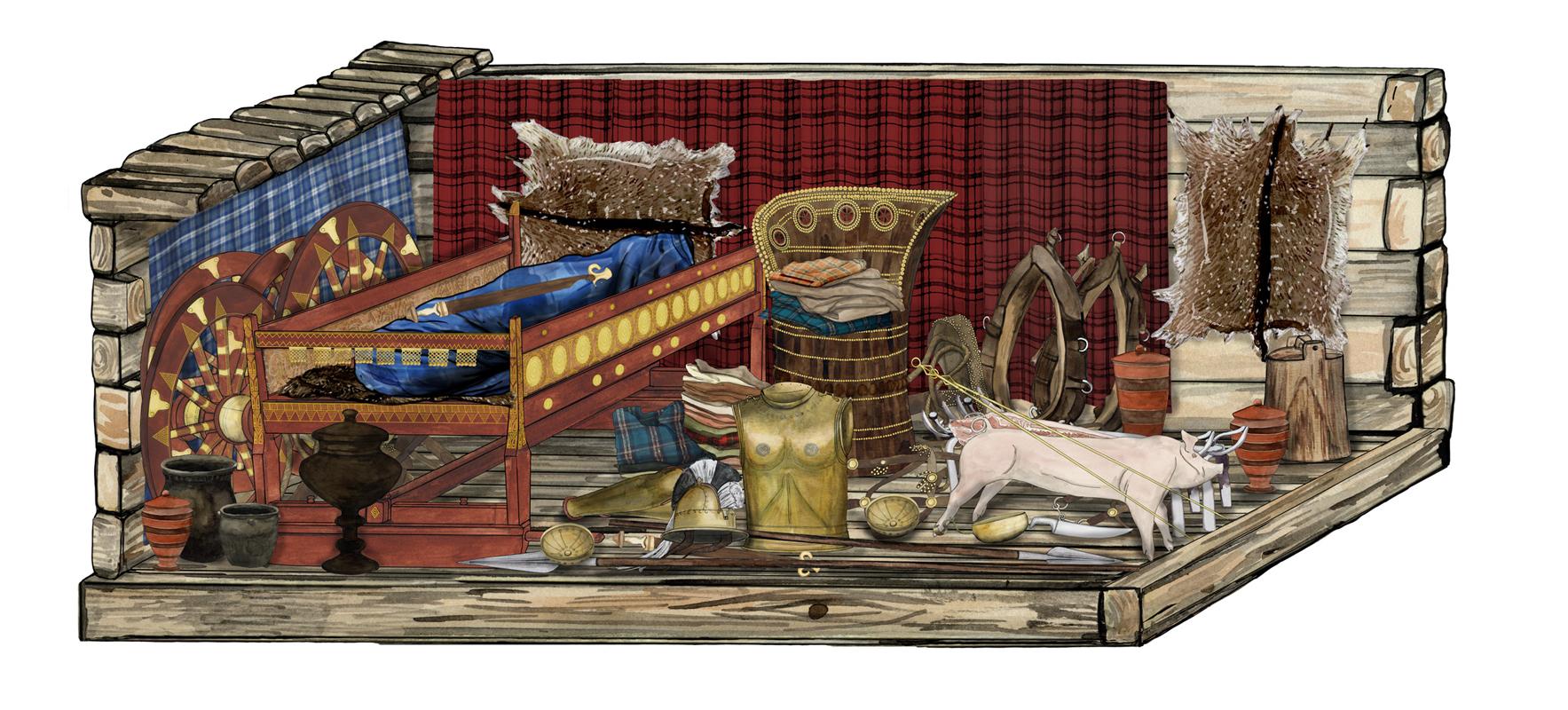 Eisenzeit, fürstliche Grabkammer, Illustration