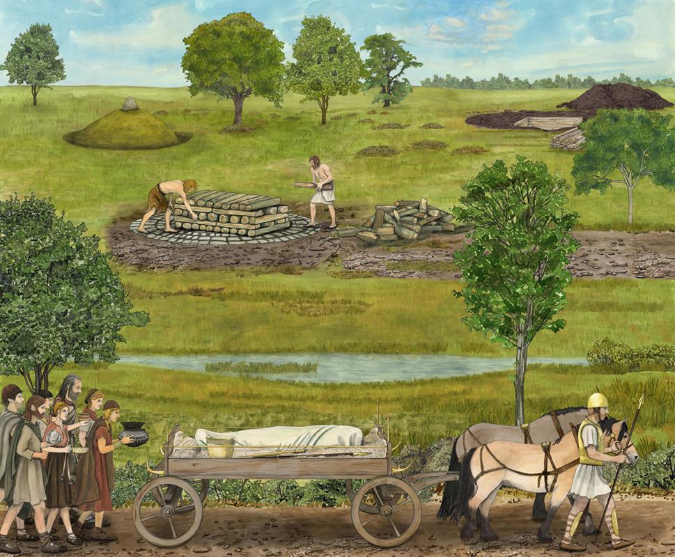 bronzezeitlicher Trauerzug, Illustration