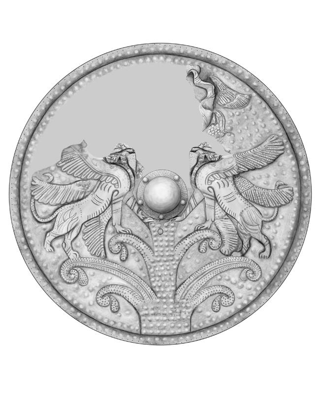 orientalischer Bronze Schild, bronze shield, Rekonstruktion, Olympia Griechenland, archäologische Zeichnung, archaeological illustration