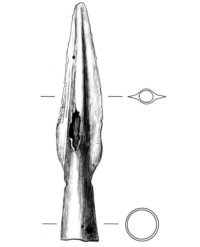 Eisen Lanzenspitze, iron lance point, archäologische Zeichnung, archaeological illustration