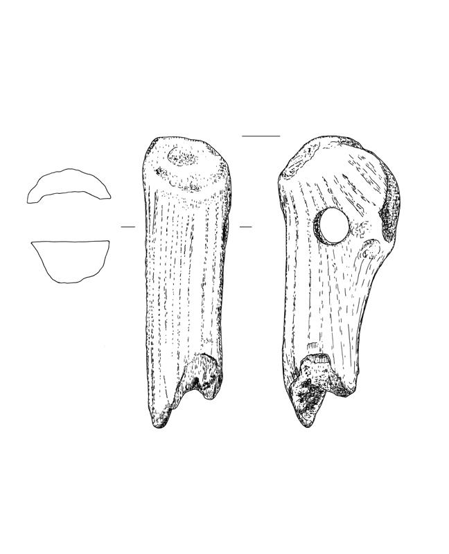 Knochen Beil, bone hatchet,archäologische Zeichnung, archaeological illustration