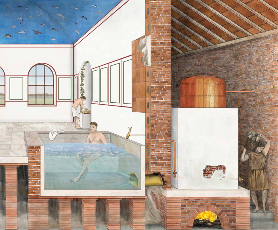 roemisches Bad, mit Testudo, Hypokausten, Wand- und Fussbodenheizung, Illustration