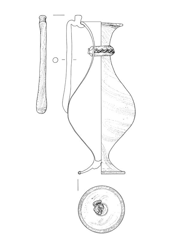 roemisches Glas, archäologische Zeichnung, archaeological illustration