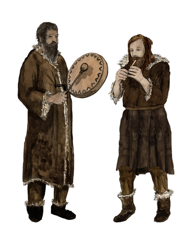 Paläolithikum Knochenflöte und Trommel, stone age, Osseous flute, drum