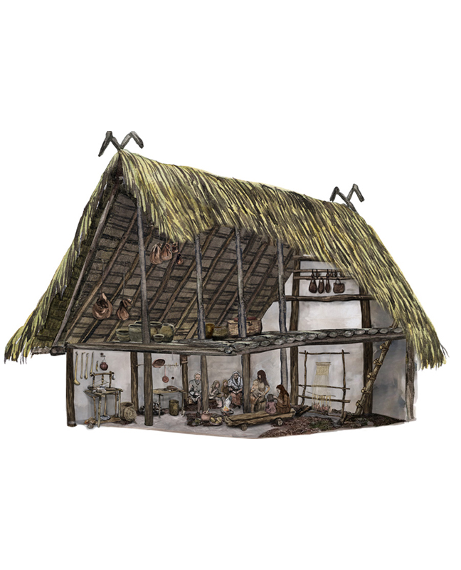 Neolithikum, Einblick in ein Haus, Neolithic period, Insight into a house
