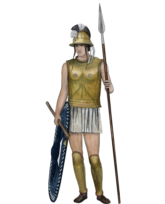 Eisenzeit Soldat, Iron Age soldier, Illustration Silvia Nettekoven