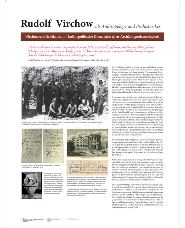 """Tafel zur Ausstellung """"Rudolf Virchow als Anthropologe und Prähistoriker"""", Layout: Silvia Nettekoven"""